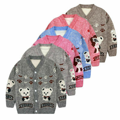 Boys Girls Cardigan Sweater Kids Jumper Winter Warm Christmas Knitted Age 2-6 Yr