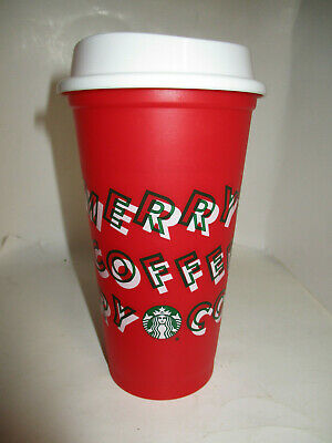 Starbucks 2019 Merry Coffee Holiday Christmas Red Reusable Hot Beverage Cup, New