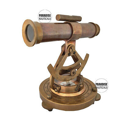 Nautical Vintage Style Antique Brass Alidate Telescope Brass With Compass