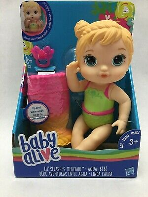 BABY ALIVE Lil Splashes Mermaid Blonde Top Changes Color Doll NEW NIB