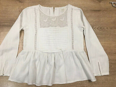 Zara Girls Cream / Off White Blouse With Lace Detail - Age 5-6 Years