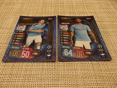 Topps Match Attax 19/20,Champions& Europa League,100 Club, Laporte 324,Sterling