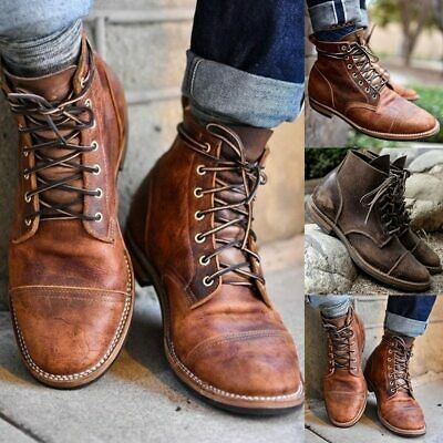 Retro Mens Leather Combat Lace Up Military Army Biker Ankle Boots Shoes Fashion