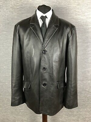 Vintage Real Leather Mens Coat Jacket Size L Large Over coat Mid Length Blazer