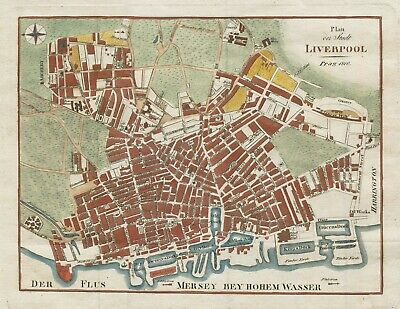 Original antique map / plan of Liverpool from 1810