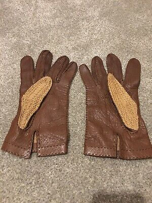Vintage Brown Leather And Woven Driving Gloves  Size 9