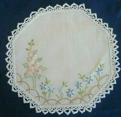 Vintage Hand Embroidered Floral Small  Doiley White Crocheted Edge