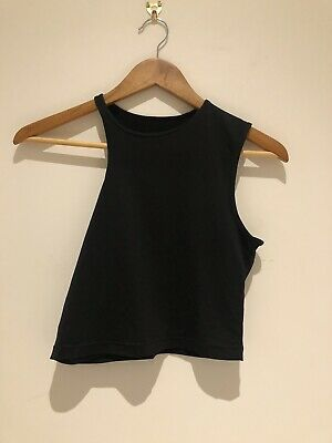 Nike Yoga Asymetrical Tank Vest Uk Size Small Black