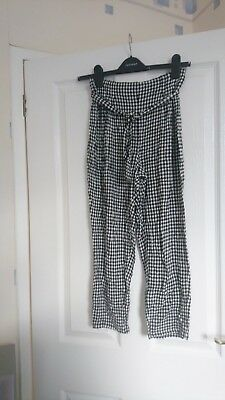 Marks and Spencer black white gingham trousers age 10-11