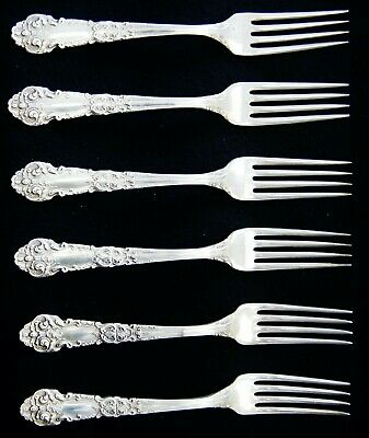 """Lot Of 6 Reed And Barton FRENCH RENNAISSANCE Sterling Silver Dinner Forks 7"""""""
