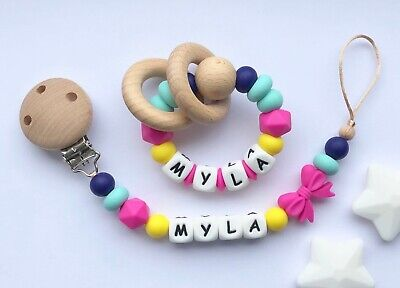 Personalised Dummy Clip And Teether Set -Pacifier Clip - Soother Clip - Fushia