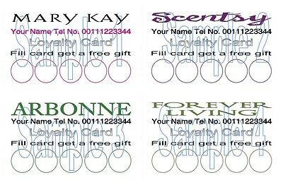 LOYALTY CARDS 50 for Mary Kay Scentsty  Arbonne Forever Living Representatives t