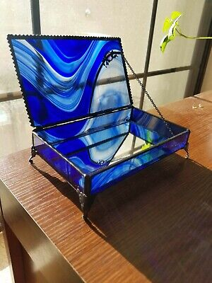Vintage Blue Swirl Stained Glass Trinket Jewelry Box Footed Hinged Mirror Bottom