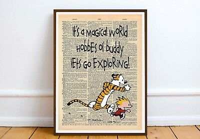 Calvin and Hobbes Quote wall art print gift -  Magical world ... moc dictionary