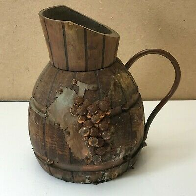 Vintage Handmade Arts & Crafts Bamboo Wood & Copper Jug (T6)