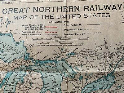 GREAT NORTHERN RAILWAY 1928 United States Map - $19.00 ...
