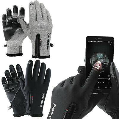 Touch Screen Gloves Zipper Thermal Winter Sports Skiing Warm Mittens Men Womens