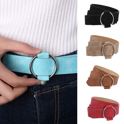 Adjustable Punk Style Round Buckle Waist Chain Women Buckle Waist Belts Metal