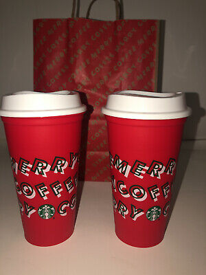 TWO New Starbucks Holiday Christmas 2019 Red Reusable Cup w/ Lid