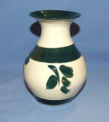 Artisan Handcrafted Art Pottery Flower Vase - Hand Painted, Glazed and Signed