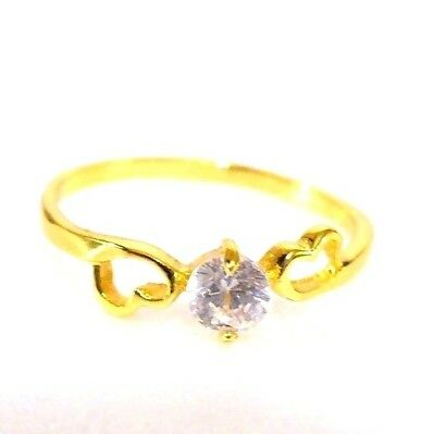 New Solitaire 24K Gold Plated CZ Cubic Zirconia Heart Engagement Ring size N