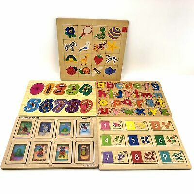 Pre-Loved Assorted Wooden Board Memory Match Game for Kids - 5x Sets Bulk