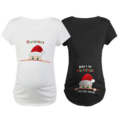 Mom Baby's 1st Christmas On The Inside Maternity Pregnancy Pregnant T-Shirt AU