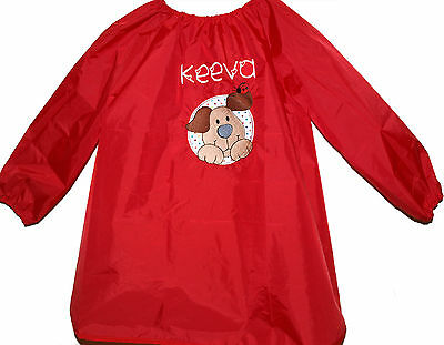 Kids Personalised Art Smock / Paint Shirt - Happy Puppy - First name FREE