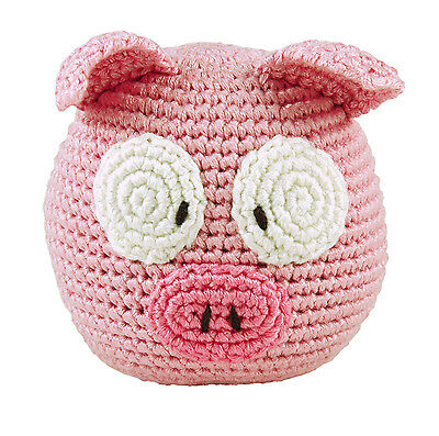 Baby Organic Eco Soft Toy Pig Roly Poly Rattle
