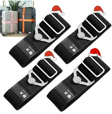 4PCS Elastic Luggage Strap Travel Adjustable Suitcase Packing Belt Baggage Fixed