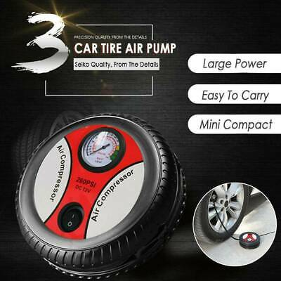 Portable 260PSI 12V Car Tire Air Pump Inflator Vehicle Compressor Electric F1F5