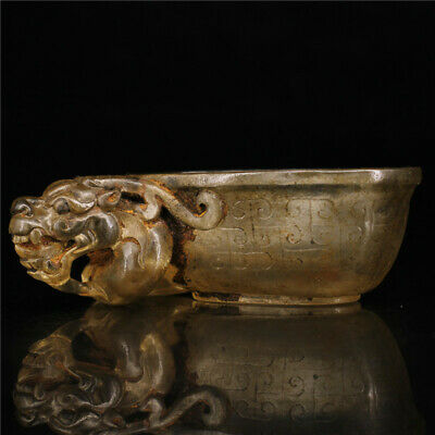 "3.94""Exquisite Chinese Colored glaze Handmade Dragon head wineglass wine cup"