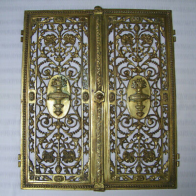 Antique Victorian 19Th French Pair Door Panels Solid Bronze Ormolu Art Nouveau