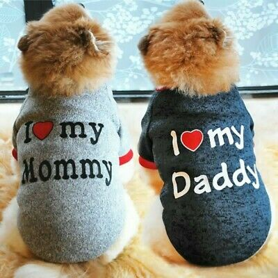 Cute Pet Dog Clothes Sweater Puppy Cat I Love My Mommy Daddy Chihuahua Coat Vest