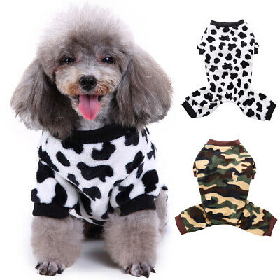 Puppy Pet Dog Cat Gift Pajamas Pyjamas Jumpsuit Casual Cotton Clothes Costumes w