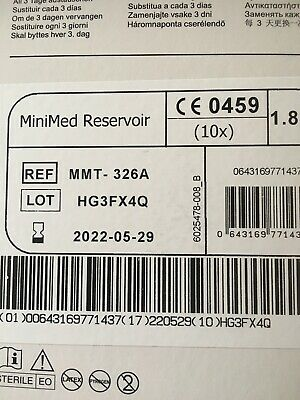 MEDTRONIC MINI MED RESERVOIR MMT-326A (2 boxes X 10 reservoirs) Expiry 2022-05