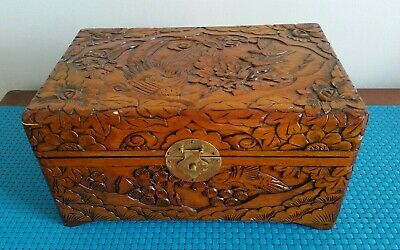 Vintage Large Chinese Hand Carved Floral Birds Wooden Lacquer Jewellery Box