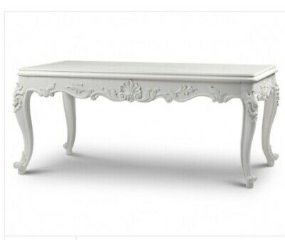 French Style Dining Table with Carvings Antique White Brand New