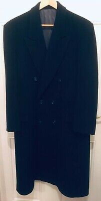Mens Vintage 1980s Cashmere Wool Blend Navy Double Breasted Tailored Overcoat 38