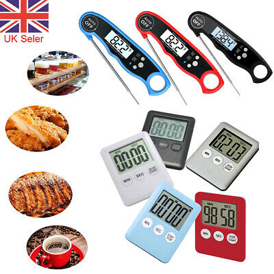 Magnetic LCD Digital Kitchen Timer Counter Up Down Thermometer Probe Temperature