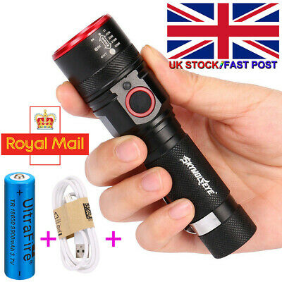 Super Bright Mini Rechargeable USB LED Torch With Beam Focusing Flashlight 18650