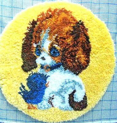 "Latch Hook Completed  Dog  Rug  Kit  ""Best Friends"""