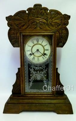 Antique American Clock with Oak Hand Carved case c 1850s Jerome & Co