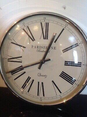Chrome Parisienne Wall Clock, Fully Working
