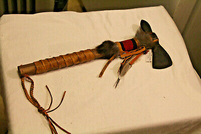 """AUTHENTIC NATIVE AMERICAN TOMAHAWK By NAVAJO ARTIST D. YAZZIE- COA- 13 3/4"""" long"""