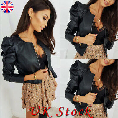 Women Ladies PU Faux Leather Puff Sleeve Zip Up Cropped Jacket Blazer Bomber Top