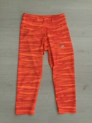 Adidas Orange Camouflage Tight Fit 3/4 Length Gym Leggings Size Xs Uk 4 6