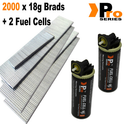 18g Brads: Sizes available 15mm-50mm Brads (2 x 1000 Brad Pack) + 2 Fuel Cells