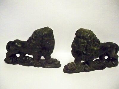 Pair of Art Nouveau CAST IRON Lion flatback Doorstops