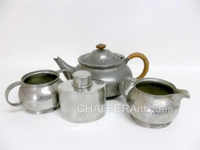 Unique LIBERTY & Co. TUDRIC Pewter Tea Set & Caddy by William Hair Haseler c1903